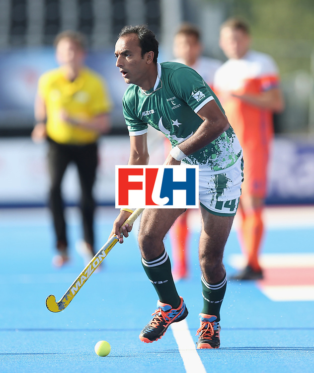 LONDON, ENGLAND - JUNE 15: Muhammad Umar Bhutta of Pakistan during the Hero Hockey World League Semi Final match between Netherlands and Pakistan at Lee Valley Hockey and Tennis Centre on June 15, 2017 in London, England.  (Photo by Alex Morton/Getty Images)