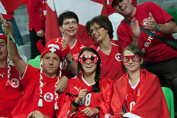 Fans of Switzerland during qualification football match for World Cup 2014 in Brazil between national team of Slovenia and Switzerland, on September 7, 2012 in Ljubljana, Slovenia. (Photo by Matic Klansek Velej / Sportida.com)