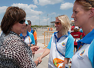 (L) Anna Komorowska - First Lady of Poland with volounteers after cycling competition during 2011 Special Olympics World Summer Games Athens on June 27, 2011..The idea of Special Olympics is that, with appropriate motivation and guidance, each person with intellectual disabilities can train, enjoy and benefit from participation in individual and team competitions...Greece, Athens, June 27, 2011...Picture also available in RAW (NEF) or TIFF format on special request...For editorial use only. Any commercial or promotional use requires permission...Mandatory credit: Photo by © Adam Nurkiewicz / Mediasport