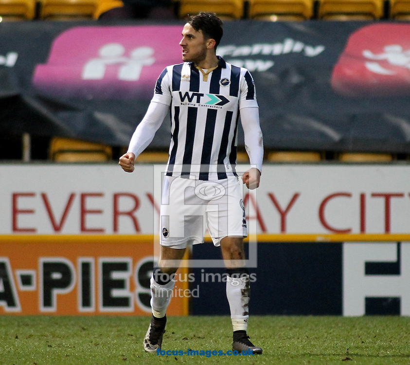 Lee Gregory of Millwall celebrates scoring his goal  against Bradford City during the Sky Bet League 1 match at the Northern Commercials Stadium, Bradford<br /> Picture by Stephen Gaunt/Focus Images Ltd +447904 833202<br /> 21/01/2017