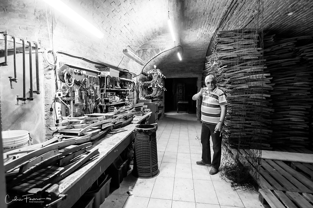 Contrada's workshop where lamps, flags, tables and chairs are stored and maintained.