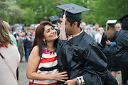 Rahul Patel gets a hug from his mother Jenny Patel at undergraduate commencement. Photo by Ben Siegel