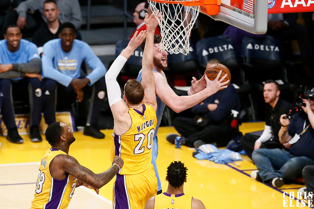 31 January 2017: Denver Nuggets center Jusuf Nurkic (23) goes for the reverse layup against Los Angeles Lakers center Timofey Mozgov (20) during the LA Lakers 120-116 victory over the Denver Nuggets, at the Staples Center, Los Angeles, California, USA.