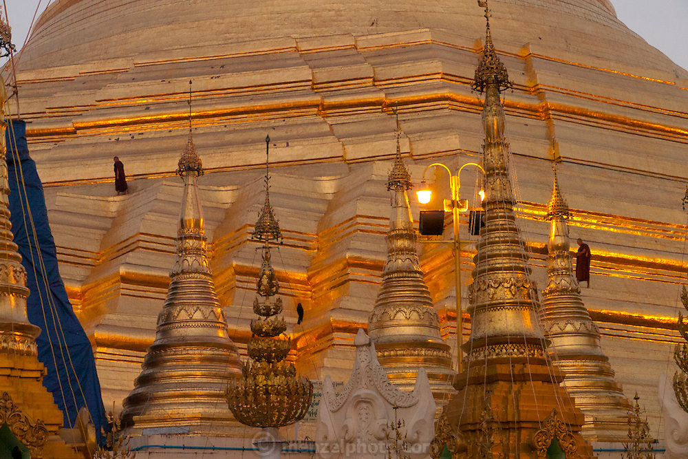 Shwedagon Pagoda at dawn in Yangon, Myanmar (Rangoon, Burma). The gold-leafed Buddhist Pagoda and surrounding shrines is the most important religious site in the country.