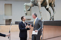 ROME, ITALY - 20 JULY 2014: (L-R) Mayor of Rome Ignazio Marino and Mayori of new York Bill De Blasio chat shortly before a press conference at the Capitoline Museums n Rome, Italy, on July 20th 2014.<br /> <br /> Bill de Blasio arrived in Italy with his family Sunday morning for an 8-day summer vacation that includes meetings with government officials and sightseeing in his ancestral homeland.