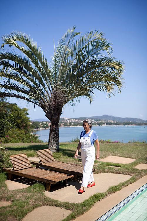 Artist Christina Motta in her ocean-facing backyard.