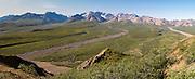 Panoramic view of Polychrome Basin, Denali National Park, Alaska.