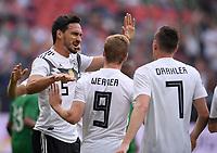 FUSSBALL  INTERNATIONAL TESTSPIEL  IN LEVERKUSEN Deutschland -  Saudi-Arabien              08.06.2018 Torjubel: Mats Hummels, Timo Werner und Julian Draxler  (v.l., alle Deutschland)