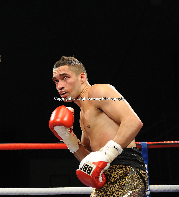 Ben Jones defeats Akaash Bhatia (pictured) for the English Super Featherweight Title at Medway Park, Gillingham, Kent, UK on 13th May 2011. Frank Maloney Promotions. Photo credit © Leigh Dawney 2011.