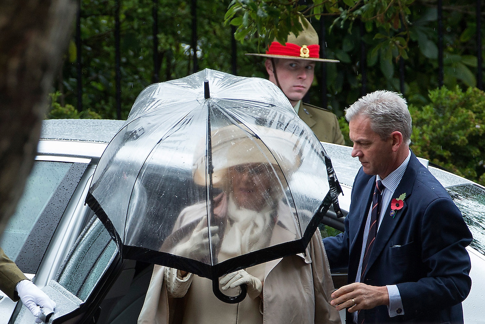 The Duchess of Cornwall  arrives as she and The Prince of Wales visit the National War Memorial, Wellington, New Zealand, on  Wednesday, November 04, 2015. Credit: SNPA / David Rowland