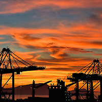 Sunset Over Port Cranes in Callao, Peru<br />