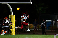 KELOWNA, BC - AUGUST 17:  Tanner Hayward #17 of the Westshore Rebels misses a catch at the Apple Bowl on August 17, 2019 in Kelowna, Canada. (Photo by Marissa Baecker/Shoot the Breeze)