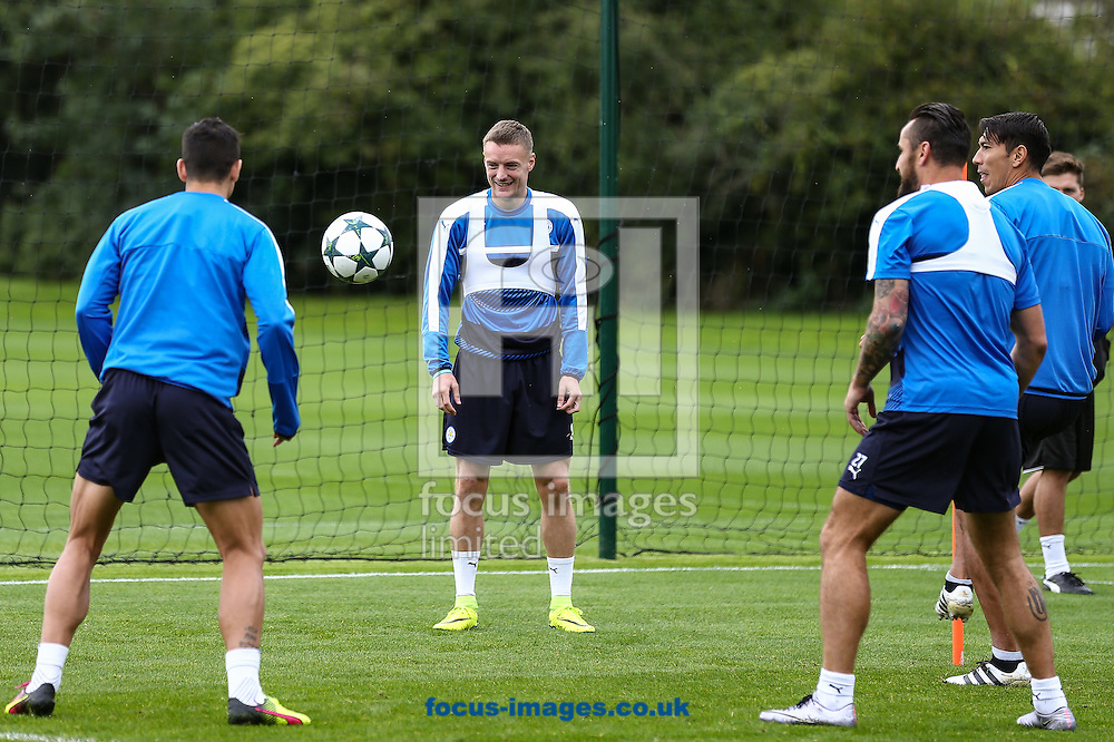 Jamie Vardy of Leicester City (centre) during the Leicester City training session at Leicester City Training Ground, Leicester<br /> Picture by Andy Kearns/Focus Images Ltd 0781 864 4264<br /> 26/09/2016