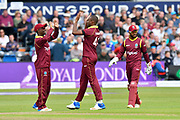 Wicket - Miguel Cummins of West Indies celebrates taking the wicket of Jos Buttler of England during the One Day International match between England and West Indies at the Brightside County Ground, Bristol, United Kingdom on 24 September 2017. Photo by Graham Hunt.