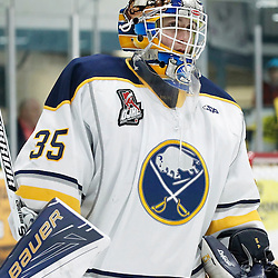TRENTON, ON - NOV 10:  Alex Camarre #35 of the Buffalo Jr. Sabres during the OJHL regular season game between the  Buffalo Jr Sabres and Trenton Golden Hawks on November 10, 2016 in Trenton, Ontario. (Photo by Amy Deroche/OJHL Images)