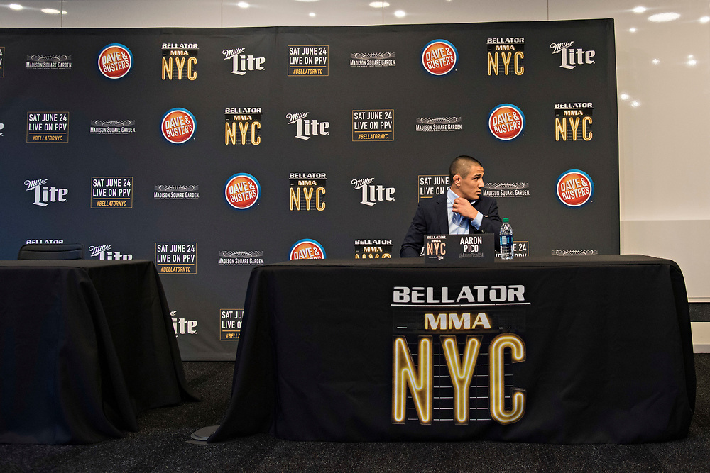 June 8, 2017 / Hollywood, Calif.<br /> <br /> Aaron Pico, 20, awaits the onslaught of questions during media availability as Bellator hypes his upcoming MMA debut at the Viacom Headquarters in Hollywood on June 8, 2017. (Melissa Lyttle for ESPN)