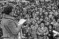 Monica Patterson, founder and chairwoman, Woman Together, a peace initiative during the N Ireland Troubles, addresses a meeting at Belfast City Hall, N Ireland, UK. 197301130017.<br /> <br /> Copyright Image from Victor Patterson, 54 Dorchester Park, Belfast, UK, BT9 6RJ<br /> <br /> t1: +44 28 9066 1296 (from Rep of Ireland 048 9066 1296)<br /> t2: +44 28 9002 2446 (from Rep of Ireland 048 9002 2446)<br /> m: +44 7802 353836<br /> <br /> e1: victorpatterson@me.com<br /> e2: victorpatterson@gmail.com<br /> <br /> www.victorpatterson.com<br /> <br /> IMPORTANT: Please see my Terms and Conditions of Use at www.victorpatterson.com