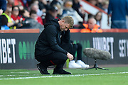AFC Bournemouth manager Eddie Howe looks dejected during the Premier League match between Bournemouth and Norwich City at the Vitality Stadium, Bournemouth, England on 19 October 2019.
