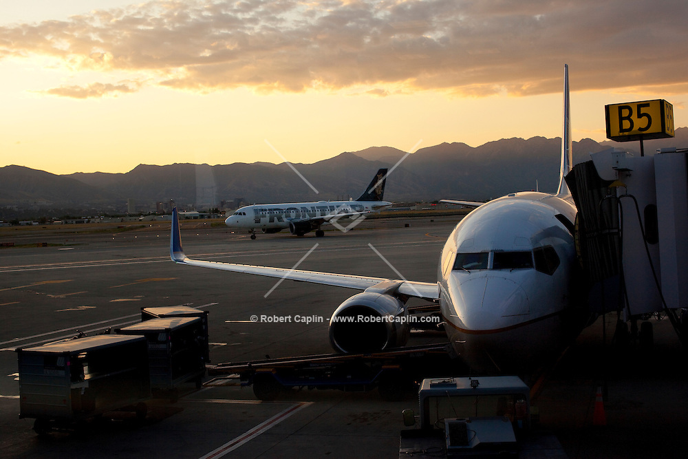 A Continental  aircraft at Salt Lake International Airport. <br /> <br /> Photo by Robert Caplin