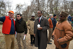 L-R:  Council President Darrell Clarke.  With a ceremonial singing of the lease Philadelphia Outward Bound School and Audubon Pennsylvania kick of the Discovery Center project in the East Fairmount Park section of the city. (Bas Slabbers/for Philadelphia Outward Bound School)