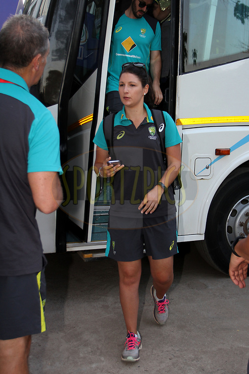 Australian players arrive on the ground for the first women's one day International ( ODI ) match between India and Australia held at the Reliance Cricket Stadium in Vadodara, India on the 12th March 2018<br /> <br /> Photo by Vipin Pawar / BCCI / SPORTZPICS