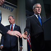 President George W.  Bush speaks with New York Mayor Michael Bloomberg during a speech on the economy at Federal Hall Wednesday, January 3, 2007, in New York.<br /> <br /> Khue Bui for Newsweek