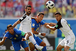 (l-r) Thiago Silva of Brazil, Giancarlo Gonzalez of Costa Rica, Roberto Firmino of Brazil, Oscar Duarte of Costa Rica during the 2018 FIFA World Cup Russia group E match between Brazil and Costa Rica at the Saint Petersburg Stadium on June 22, 2018 in Saint Petersburg, Russia.