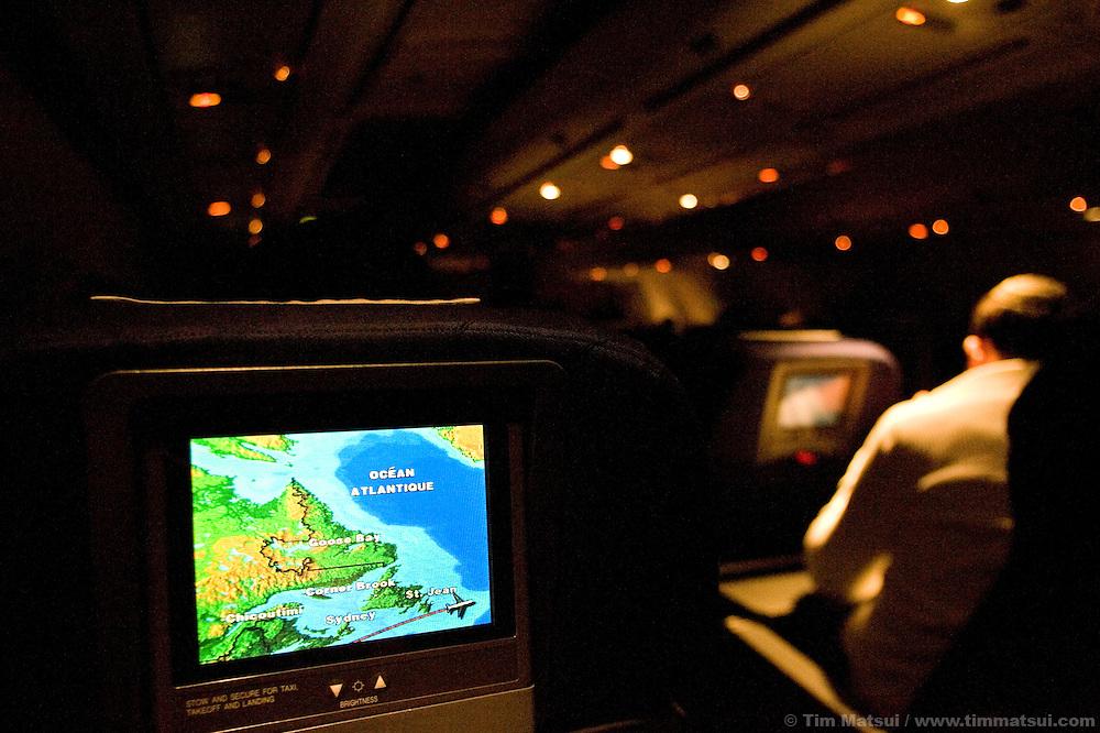 International flight from New York, USA, to Geneva, Switzerland.
