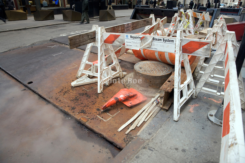 New York City Con Edison repair construction site down Down Manhattan Wall Street