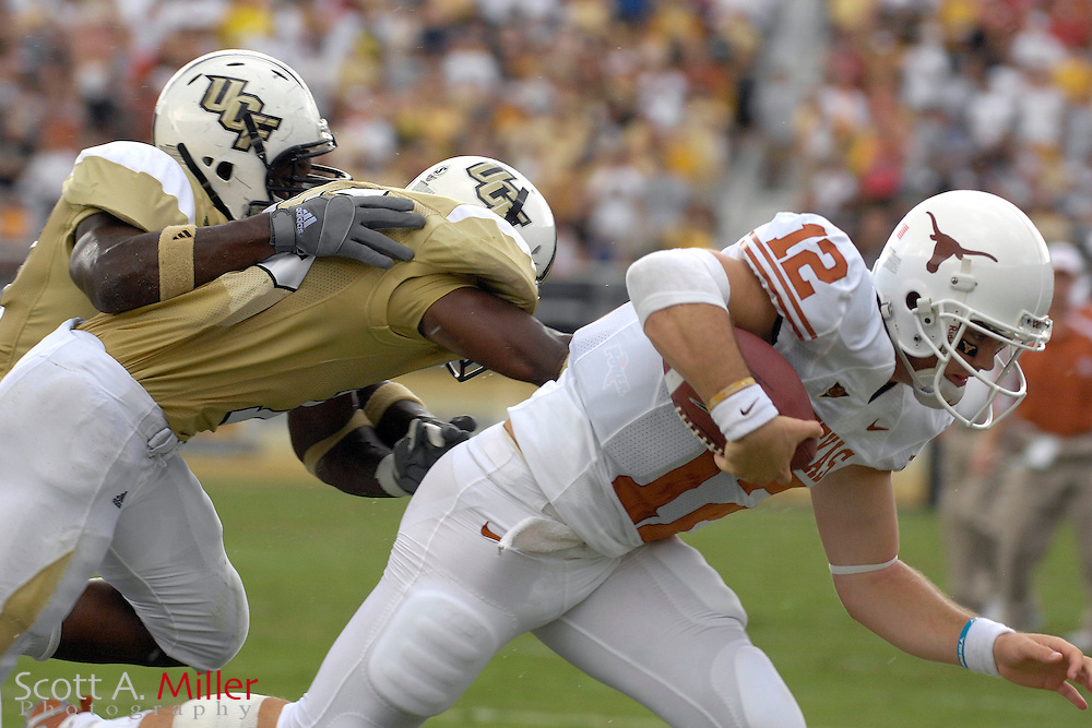 Sep 15, 2007; Orlando, FL, USA; Texas Longhorns quarterback (12) Colt McCoy scrambles in the first quarter against the Central Florida  Knights in Bright House Stadium. ...©2007 Scott A. Miller