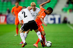 Pascal Itter of Germany vs Jeroen Lumu of Netherlands during the UEFA European Under-17 Championship Final match between Germany and Netherlands on May 16, 2012 in SRC Stozice, Ljubljana, Slovenia. (Photo by Vid Ponikvar / Sportida.com)