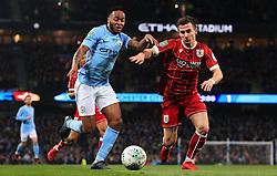 Raheem Sterling of Manchester City takes on Joe Bryan of Bristol City - Mandatory by-line: Matt McNulty/JMP - 09/01/2018 - FOOTBALL - Etihad Stadium - Manchester, England - Manchester City v Bristol City - Carabao Cup Semi-Final First Leg