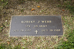 31 August 2017:   Veterans graves in Park Hill Cemetery in eastern McLean County.<br /> <br /> Robert J Webb  SP4 US Army Oct 28 1957  Oct 28 1988