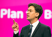 © Licensed to London News Pictures. 23/09/2014. Manchester, UK. Ed Miliband delivers his leaders speech.  Leader of the Labour Party Ed Miliband gives his leaders speech at the Labour Party Conference 2014 at the Manchester Convention Centre today 23 September 2014. Photo credit : Stephen Simpson/LNP