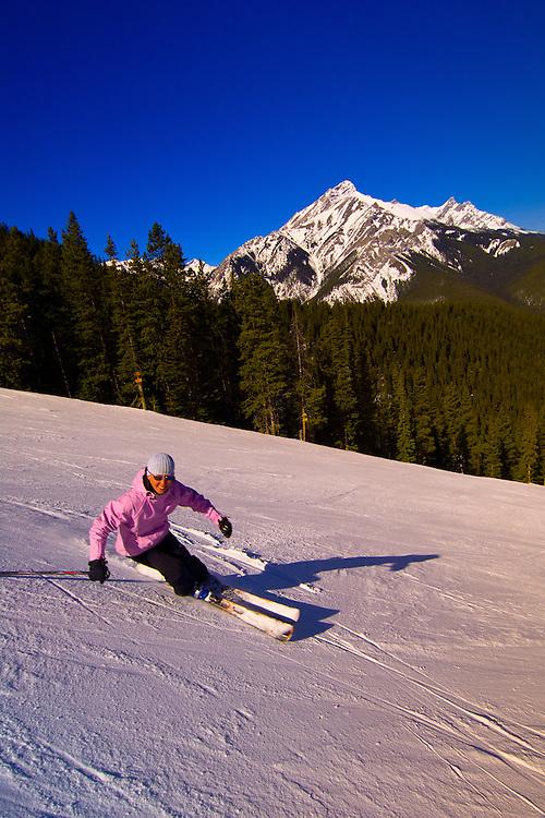 Skiing at Ski Norquay, Banff, Banff National Park, Alberta, Canada