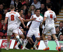 Middlesbrough's Jelle Vossen celebrates his goal with his teammates - Photo mandatory by-line: Robbie Stephenson/JMP - Mobile: 07966 386802 - 08/05/2015 - SPORT - Football - Brentford - Griffin Park - Brentford v Middlesbrough - Sky Bet Championship