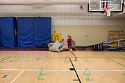 Alex Caldwell does drills at track practice at St. John Fisher College on Friday, November 7, 2014.