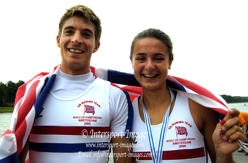 2005 Under 23's, Bosbaan Rowing Course, Amsterdam, NETHERLANDS. GBR LW1X and LM1X Hester Goodsell and Zac Purchase .24.07.2005  [A Finals] .© Peter Spurrier. .email images@intersport-images[Mandatory Credit Peter Spurrier/ Intersport Images]