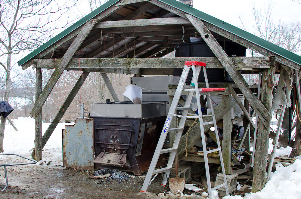 A sugarhouse at the Happytown Farm in Maine where sap is boiled down into maple syrup.