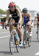 New Zealand's Rebecca Spence and Andrea Hewitt during the cycle leg of ITU World Cup Triathlon Elite womens race held in New Plymouth, New Zealand on Sunday 13 November, 2005.