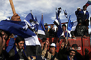 Bolivian MAS  (Movement Towards Socialism) supporters rally during the party's campaign in the outskirts of El Alto, December 2005.(Dado Galdieri)
