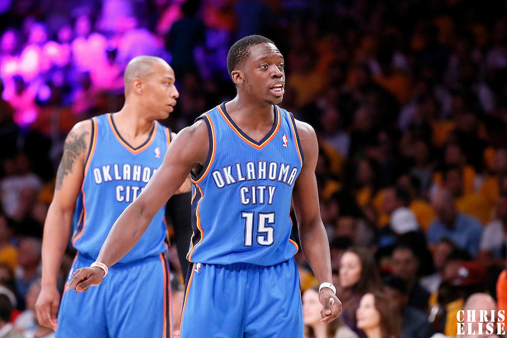 09 March 2014: Oklahoma City Thunder point guard Reggie Jackson (15) reacts during the Los Angeles Lakers 114-110 victory over the Oklahoma City Thunder at the Staples Center, Los Angeles, California, USA.