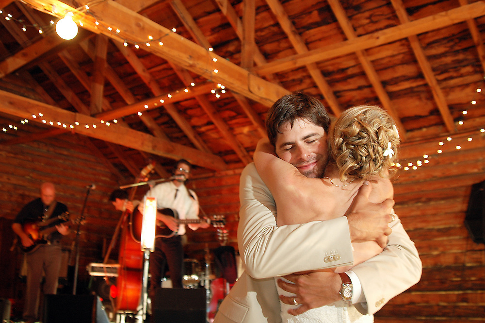 Bride and groom at the end of their first dance in Montana.