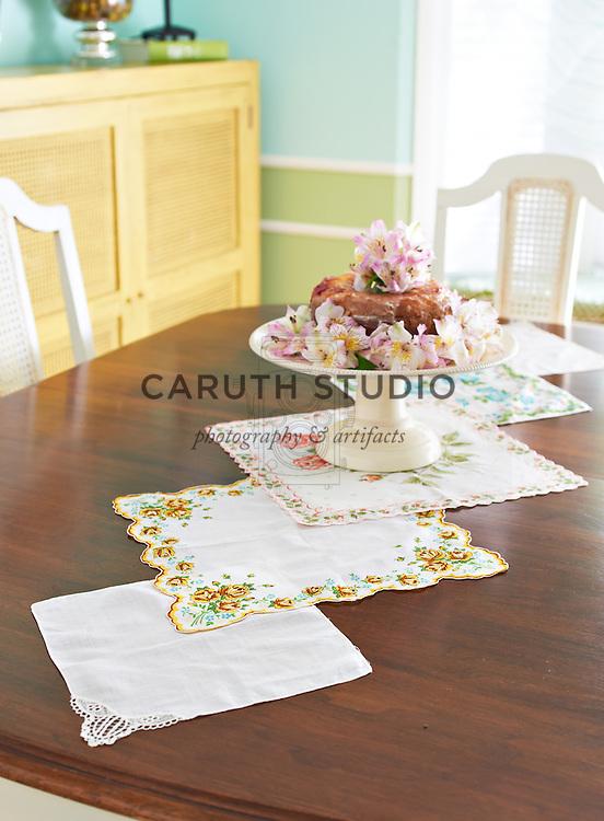 Table runner made from vintage handkerchiefs