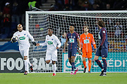 Yeni Ngbakoto (En Avant De Guingamp) scored a goal from penalty, celebration with Jimmy BRIAND (En Avant De Guingamp) during the French Cup, round of 32, football match between Paris Saint-Germain and EA Guingamp on January 24, 2018 at Parc des Princes stadium in Paris, France - Photo Stephane Allaman / ProSportsImages / DPPI