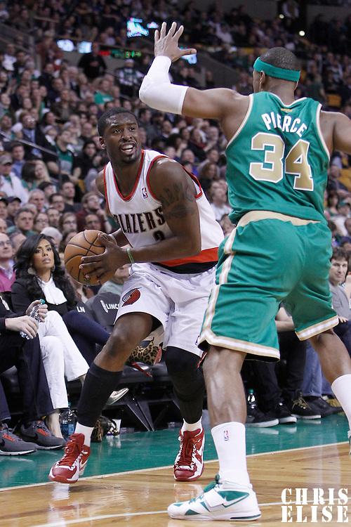 09 March 2012: Portland Trail Blazers guard Wesley Matthews (2) drives past Boston Celtics small forward Paul Pierce (34) during the Boston Celtics 104-86 victory over the Portland Trail Blazers at the TD Banknorth Garden, Boston, Massachusetts, USA.