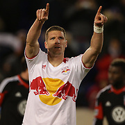 Kenny Cooper, Red Bulls, celebrates his disallowed penalty during the New York Red Bulls V D.C. United Major League Soccer, Eastern Conference Semi Final 2nd Leg match at Red Bull Arena, Harrison. New Jersey. USA. 8th November 2012. Photo Tim Clayton