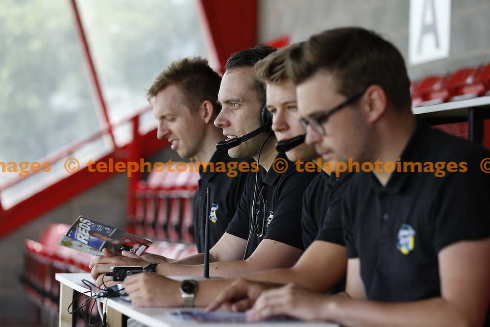 The Audio Description Commentary Team seen during the pre season friendly between Crawley Town and Fulham at the Checkatrade.com Stadium in Crawley. July 18, 2015<br /> James Boardman / TELEPHOTO IMAGES 07967642437