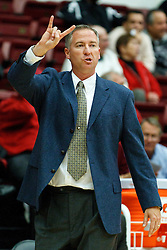 November 10, 2010; Stanford, CA, USA;  Cal State Monterey Bay Otters head coach Rob Bishop calls a play from the bench against the Stanford Cardinal during the first half at Maples Pavilion.