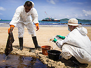 02 AUGUST 2013 - KOH SAMET, RAYONG, THAILAND: Workers dispose of used absorption pads while they cleanup an oil spill on Ao Prao beach on Koh Samet. About 50,000 liters of crude oil poured out of a pipeline in the Gulf of Thailand over the weekend authorities said. The oil made landfall on the white sand beaches of Ao Prao, on Koh Samet, a popular tourist destination in Rayong province about 2.5 hours southeast of Bangkok. Workers from PTT Global, owner of the pipeline, up to 500 Thai military personnel and volunteers are cleaning up the beaches. Tourists staying near the spill, which fouled Ao Prao beach, were evacuated to hotels on the east side of the island, which was not impacted by the spill. Officials have not said when Ao Prao beach would reopen. PTT Global Chemical Pcl is part of state-controlled PTT Pcl, Thailand's biggest energy firm.    PHOTO BY JACK KURTZ
